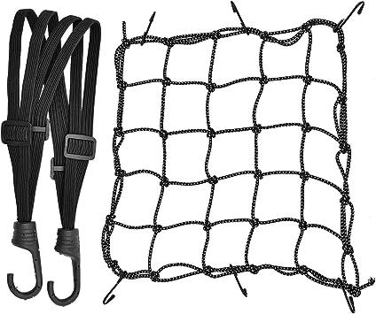 1 Stück Motorrad Gepäcknetz Dehnbar Reflektieren Netz Helmnetz Mit Haken Und 1 Stück Elastisches Gepäckband Gummizug Für Fahrrad Motorrad Transport Auto