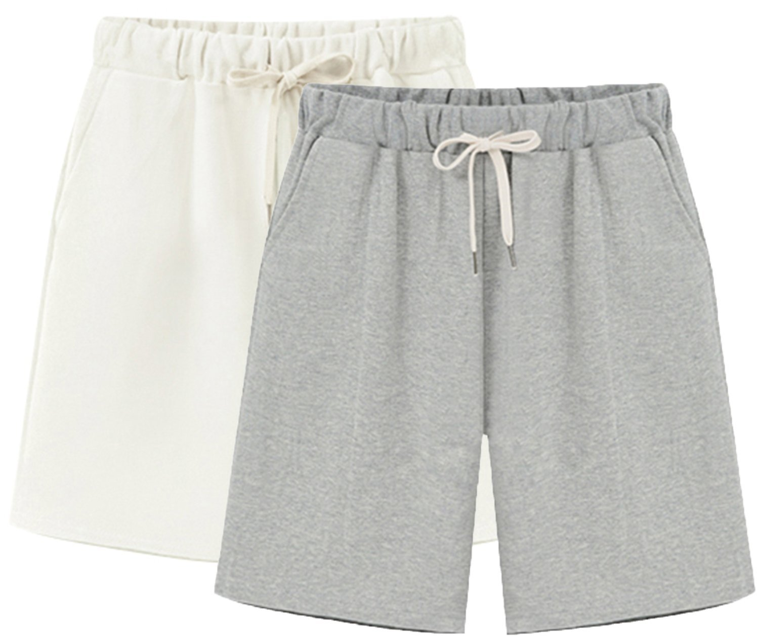 Vcansion Women's Lightweight Casual Shorts Summer Loose Plus Size Shorts Hiking Shorts Elastic Waist Drawstring 2 Pack(White+Grey) Tag 6XL/US 16W by Vcansion