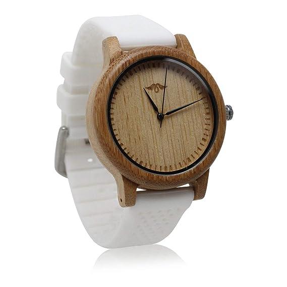 Angie Wood Creations - Reloj de bambú para hombre con esfera de bambú y correa de