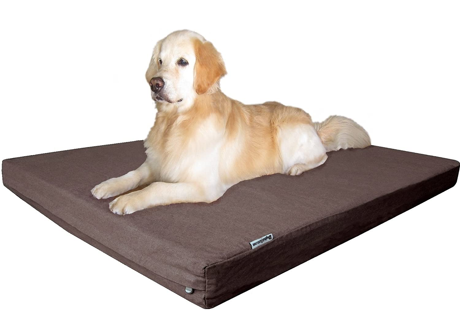 Denim in Brown JUMBO 55  Length X 47  WidthDogbed4less Waterproof Orthopedic Cooling Memory Dog Bed for Large and Extra Large Dogs, Suede Khaki color, Jumbo 55X47X4 Inches