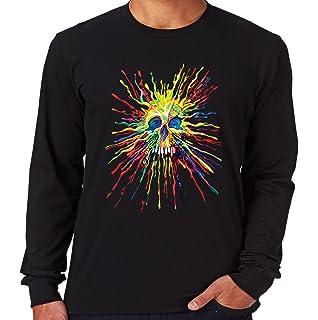Velocitee Ladies Long Sleeve T-Shirt Colourful Holiday Sugar Skull W19210