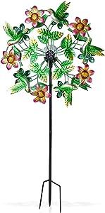 Shop LC Delivering Joy Home Garden Decor Multi Color Front/Back Floral Hummingbird Solar Wind Spinner Adjustable Height Outdoor Indoor Gifts