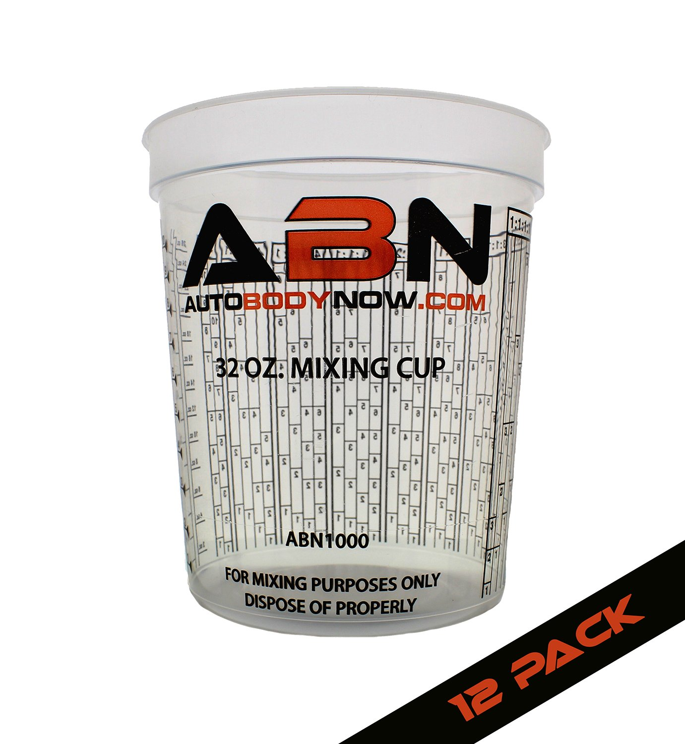ABN Clear Plastic Mixing Cup 12-Pack 32oz Ounce / 946mL Milliliter Container for Paint, Activators, and Thinner