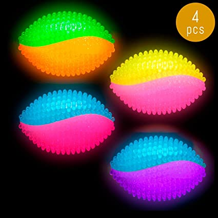 Spike Spikey Bounce Bouncy Ball with Squeaker LED Flashing Light up Party Gifts