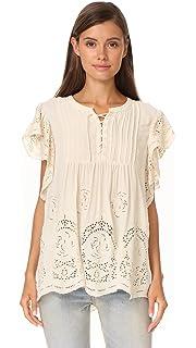 Amazon.com: SheIn Blusa de manga corta con ojales bordados y ...