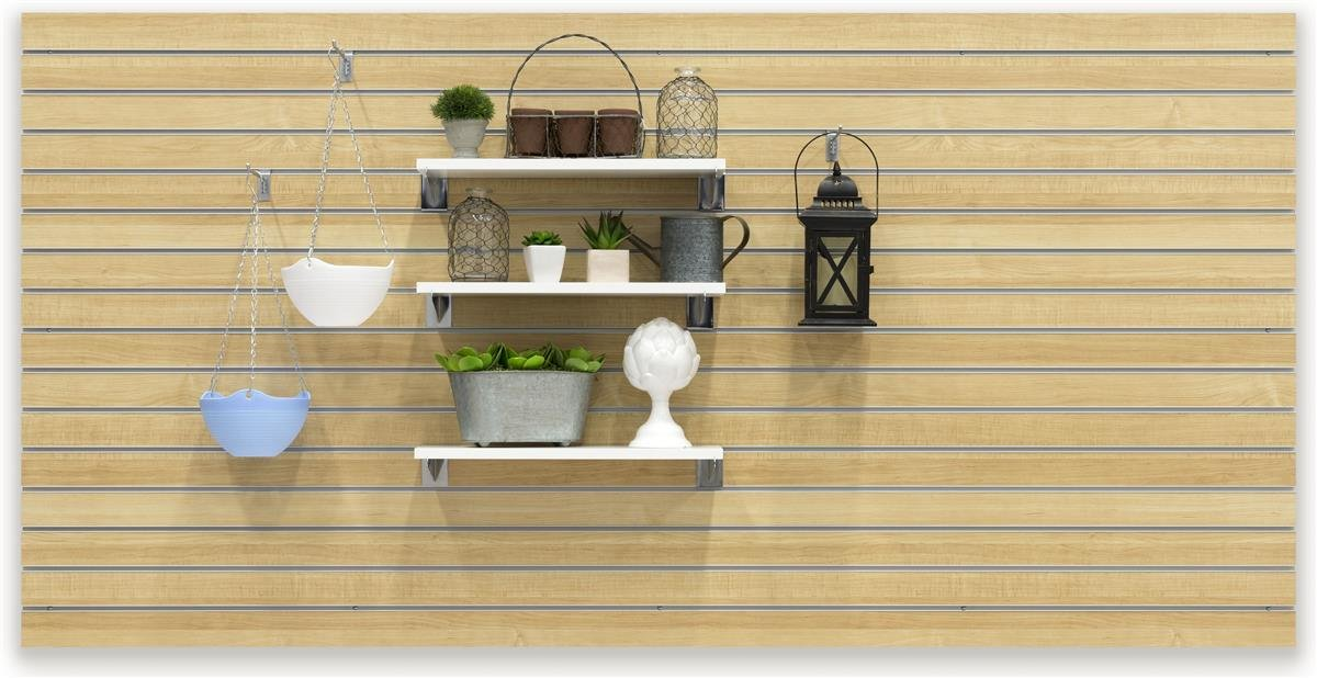 Displays2go, 96''w x 48''h Slatwall Store Panel, Melamine Construction, 15 Channels, 3.0'' On-Center Spacing - Maple Finish (SLWLM48NAT)
