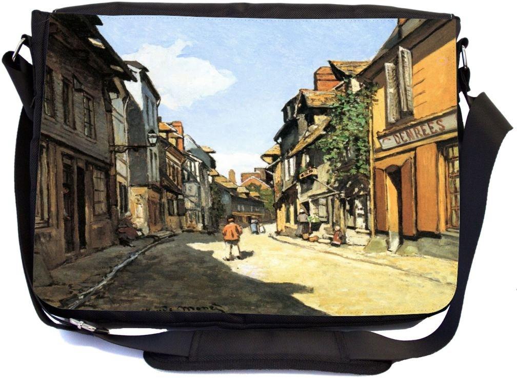 Rikki Knight Claude Monet Art Street of Bavolle Design Messenger School Bag mbcp-cond3547