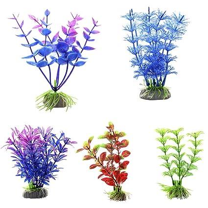 Haisiluo Plantas acuáticas Artificiales, Grandes Plantas de Acuario de plástico, Decoración de pecera,