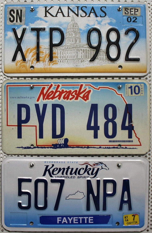 3 Kennzeichen Als Set Nummernschilder Aus Nebraska Kentucky Kansas Blechschilder Us License Plates Lot Usa Metallschilder Mit Motiv Auto