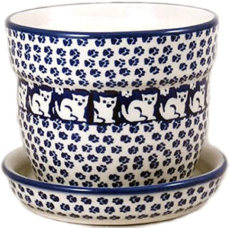 Polish Pottery Flower Pot Planter With Drip Tray In The Pattern Kot6 Jack S Cat 5 Wide 5 High Amazon Ca Home Kitchen
