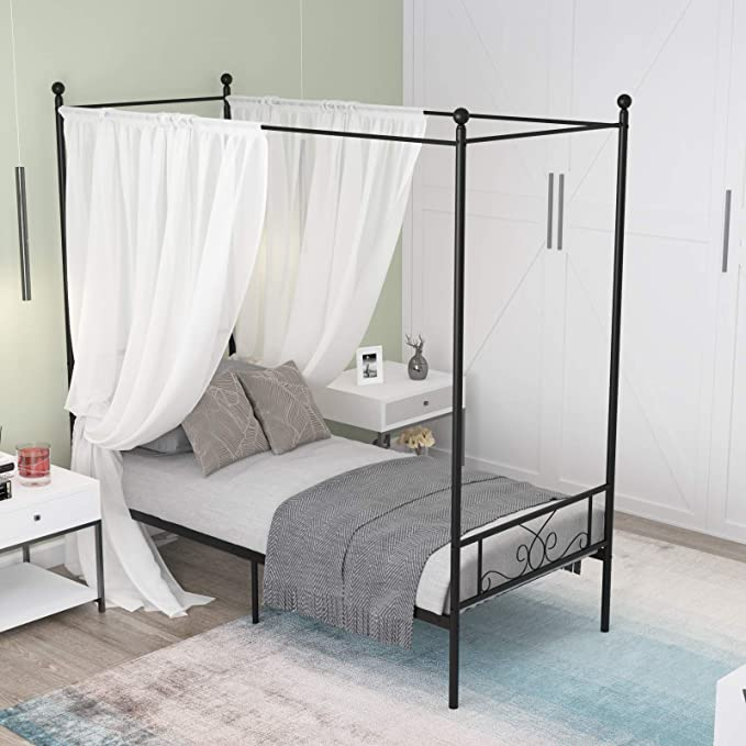 Metal Bed Frame Canopy Four Poster Platform  With Strong Steel Slat Support