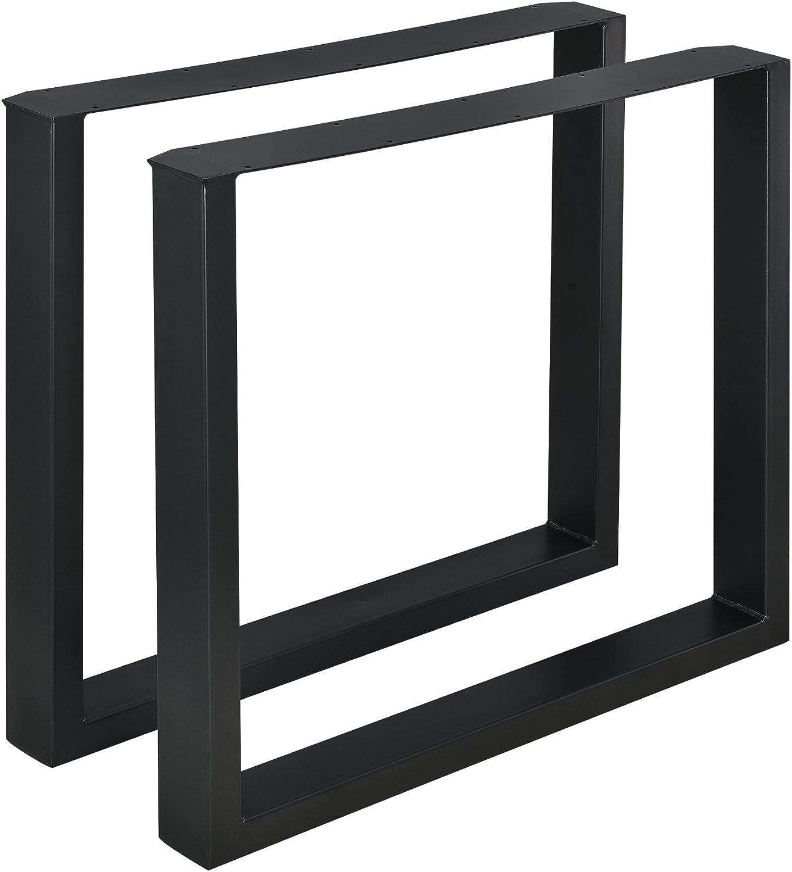 [en.casa] 2 x Conjunto de Patas de Mesa - Set de 2X Patas de Mesa - Metal - Patas de los Muebles - 80 x 72 cm - para Mesa de Comedor - Armazón de Mesa - con protección para Suelo - Negro