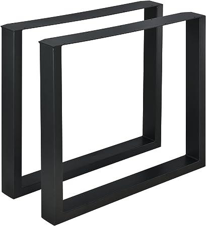 en.casa Set de 2 Pieds de Table Pied de Meuble M/étal Forme X Pied de Table /à Manger Noir 79 x 72 cm avec Protecteur de Sol et Accessoires de Montage