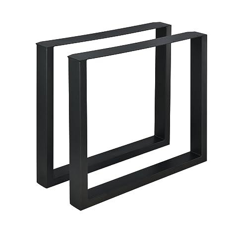 Encasa Set De 2 Pieds De Table Pied De Meuble Rectangulaire Pied De Table à Manger Avec Protecteur De Sol Et Accessoires De Montage Métal Revêtu