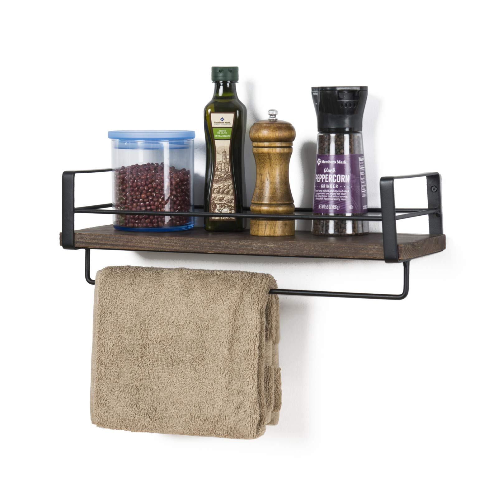 SODUKU Rustic Kitchen Wood Wall Shelf, Spice Rack Shelf with Towel Bar,Wood and Metal Floating Shelves Wall Mounted Toilet Storage Shelf for Kitchen Bathroom Bedroom Living Room - STURDY STRUCTURE- Simple design rustic wood shelves constructed of solid paulownia wood boards and powder coated metal brackets.Lightweight but solid wood can holds up to 50 lbs. EASY INSTALLATION - There comes with necessary durable hardware tool,super easy to assemble on the wall.The rustic wood shelves overall dimension: 16.33''L X 5.6''W X 5.9''H EFFICIENT SPACE SAVER - Our rustic wood wall shelf offers a large space for storage and can display in your kitchen, living room, bedroom, bathroom, entryway and more. Creates ample shelf space in unused areas of the home,perfect solution for compact areas. - wall-shelves, living-room-furniture, living-room - 71aujD6c3PL -
