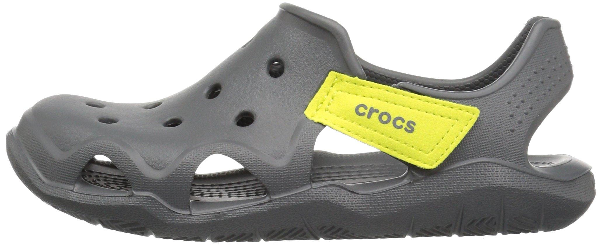 Crocs Unisex-Kids Swiftwater Wave Flat Sandal, Slate Grey/Tennis Ball Green, 13 M US Little Kid by Crocs (Image #5)