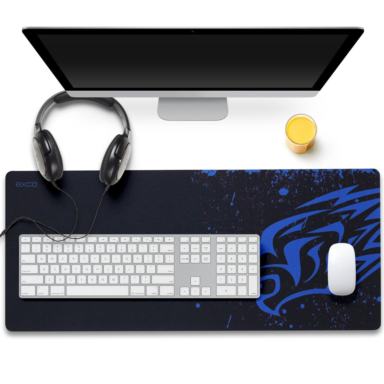 pad tastiera estesa con base in gomma antiscivolo per PC Tappetino mouse gaming XL 700x300x2mm --YISK computer e laptop Blue Leopard
