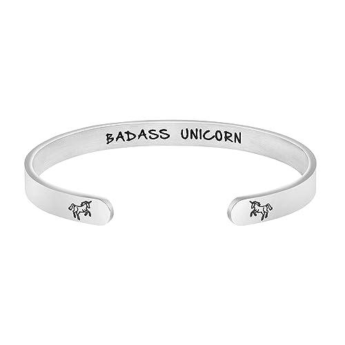 Amazon Com Badass Unicorn Bracelet Women Mantra Quotes Engraved