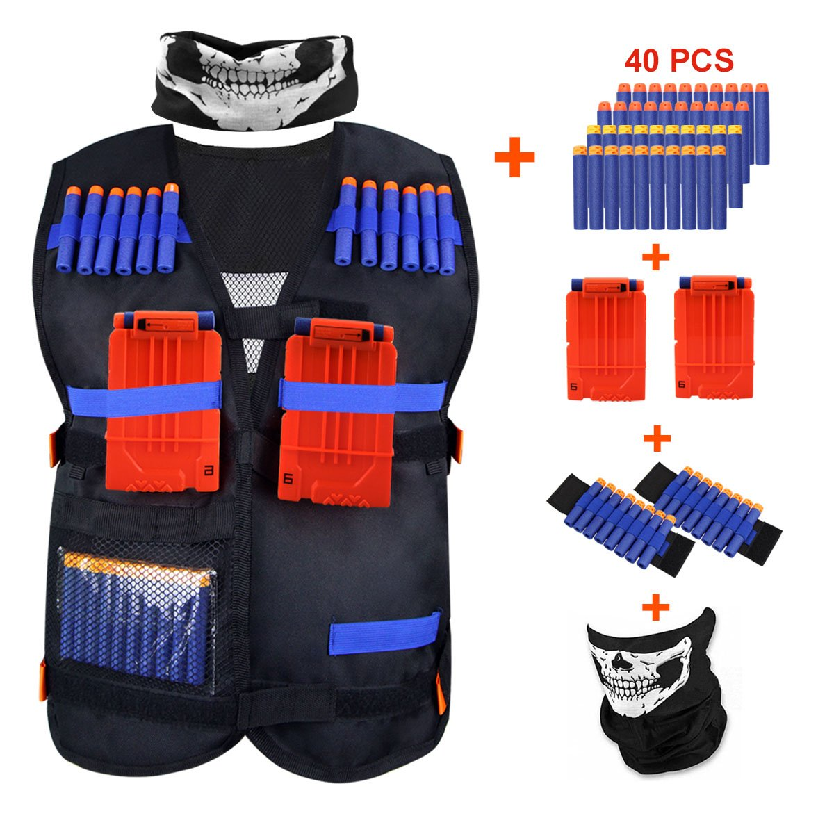 KINBON Kids Tactical Vest Kit, Adjustable Boys Nerf Vest for Nerf N-strike Elite Series Kids with 40 Pcs Foam Darts + 2Pcs 6-dart Quick Reload Clip + 1Pcs Skull Mask + 2Pcs 8-dart Wrist Band
