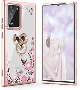 Galaxy Note 20 Case,WATACHE Glitter Sparkly Diamond Secret Garden Floral Butterfly Clear Back Soft TPU Case with Bling Ring Grip Holder Stand for Samsung Galaxy Note 20,Rose Gold