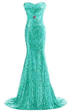 APXPF Womens Mermaid Shining Sequins Evening Party Dress Long Formal Prom Dress Aqua US2