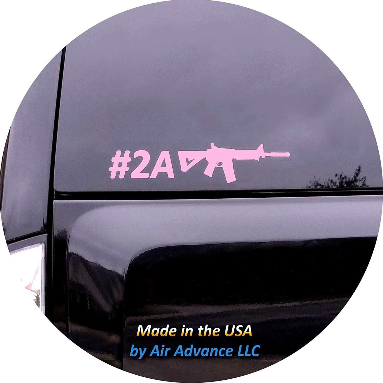 Air Advance, LLC Second Amendment (Hashtag 2A) Vinyl Window Decal - Pink Gloss - for Trucks, Cars, Laptops (Pink, 8.5 x 1.7 inches)