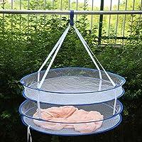 S Hook Drying Rack Folding Hanging Clothes Laundry Basket Dryer Net(Random Color) Koalcom