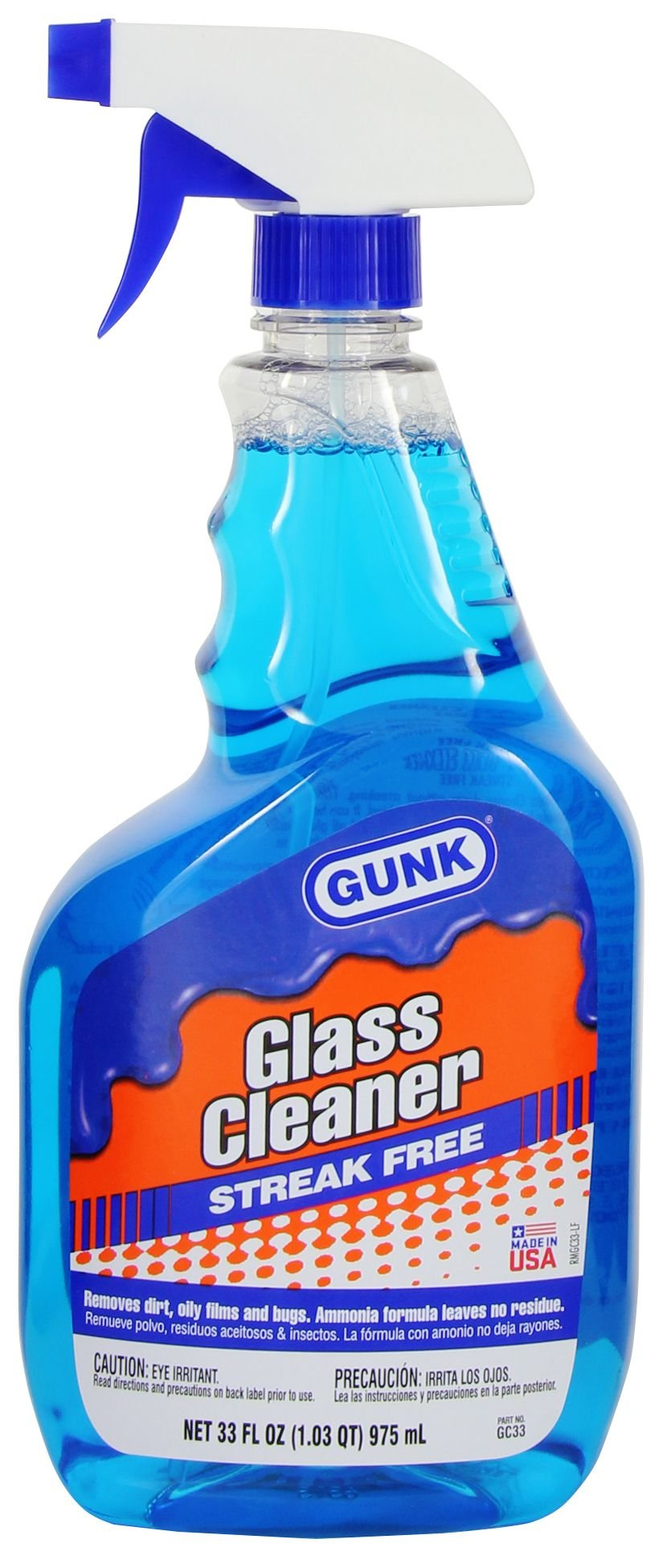 Gunk GC33-12PK Glass Cleaner with Ammonia - 33 oz, (Case of 12)