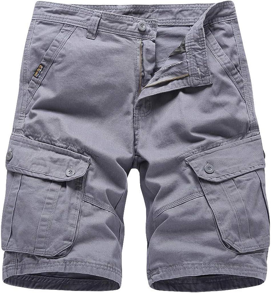 SoeHir Men's Cargo Shorts Summer Zip Multiple-Pockets Overalls Beach Shorts
