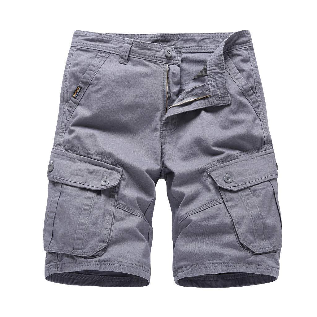Premium Men's Beach Shorts,Casual Board Shorts Comfy Breathable Cargo Shorts Plus Size (32, Gray)