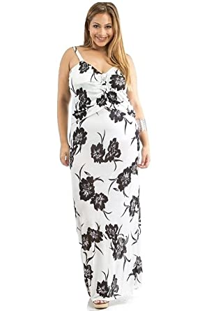 Dila Women Maxi Dress Plus Size Sheer Floral Sweetheart Neck ...