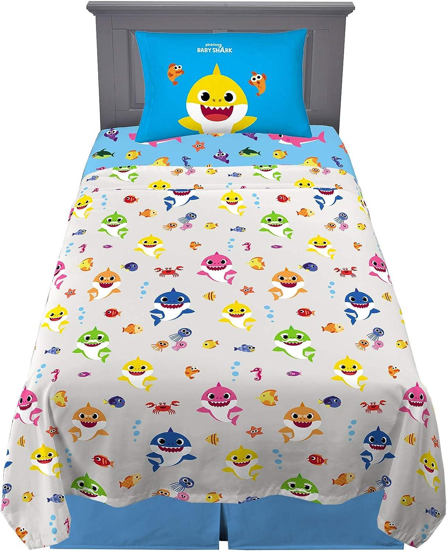 Franco Kids Bedding Super Soft Microfiber Sheet Set 3 Piece Twin Size Baby Shark Home Kitchen