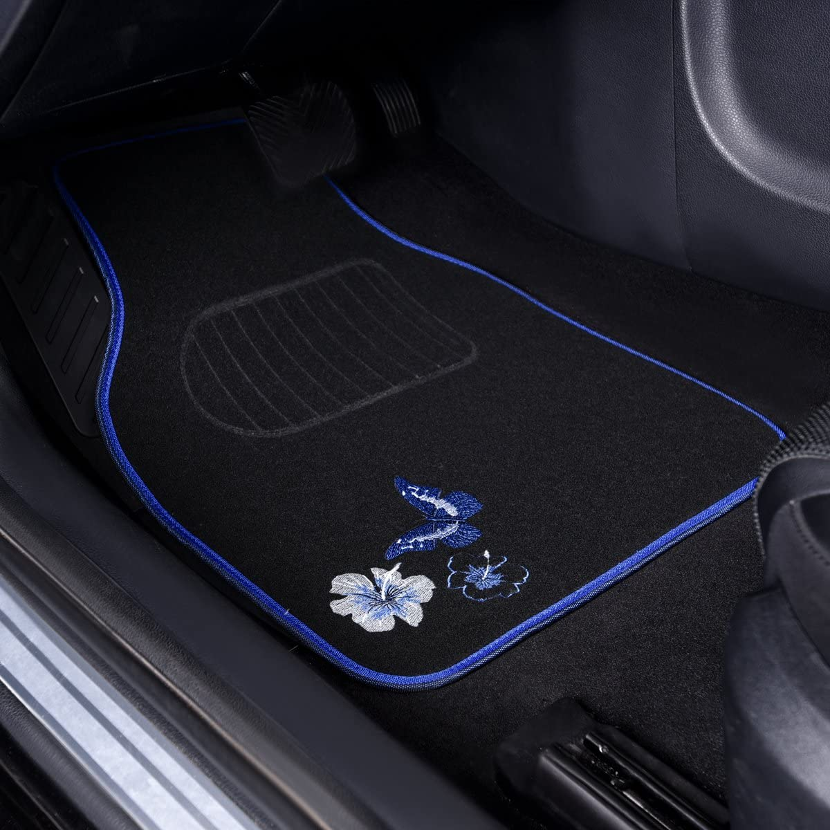 Set of 4 Black and Blue CAR PASS Embroidery Butterfly and Flower Universal Fit Car Floor Mats Fit for Suvs,Sedans,Trucks,Cars