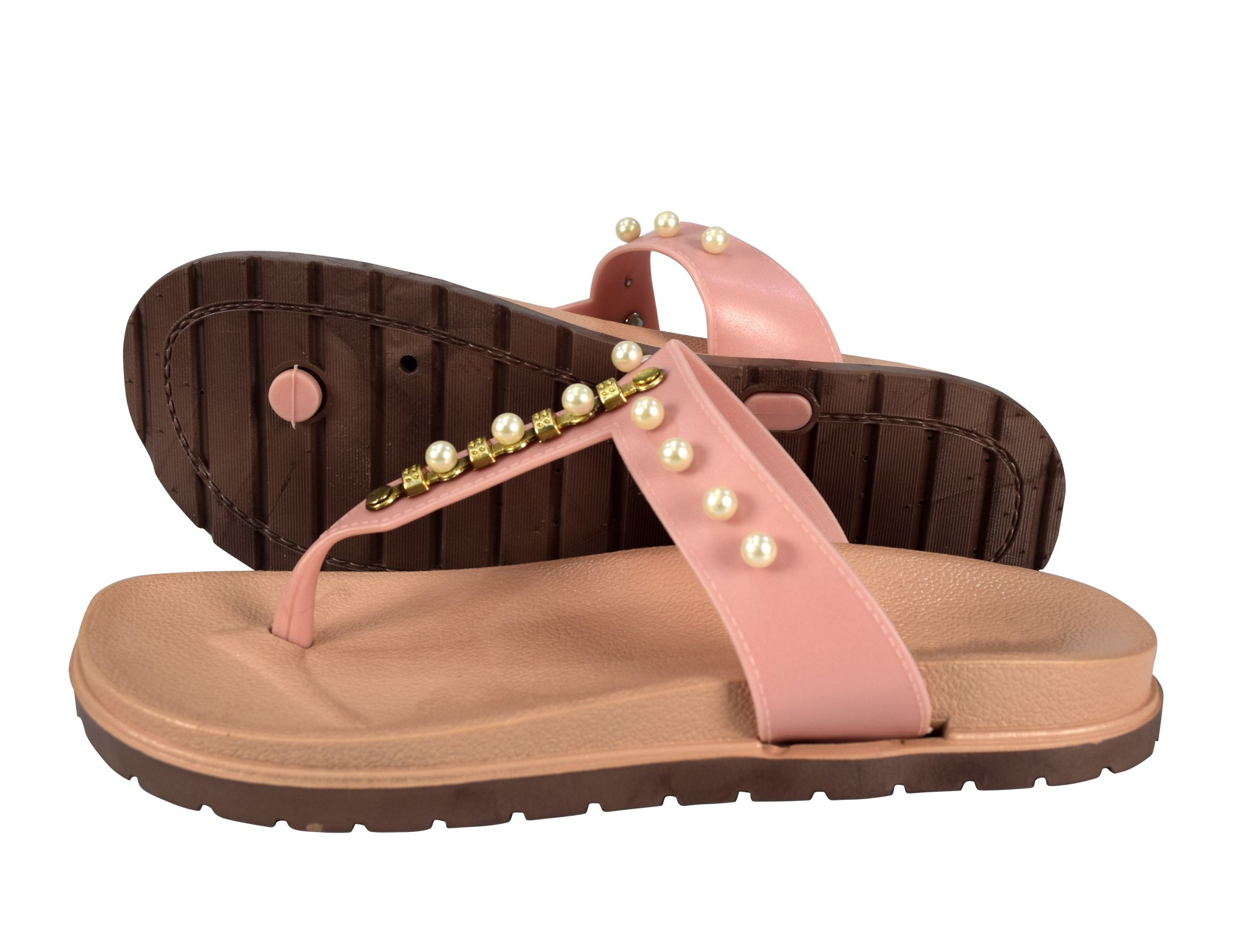 Peach Couture Summer Pearl Studded Slip On Flats Slides Sandals Pink 7 B(M) US