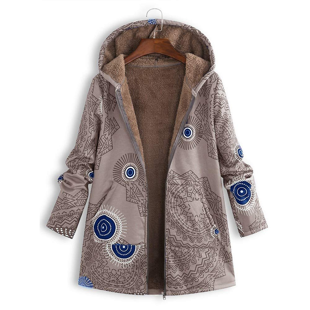 Amazon.com: Coat,AIMTOPPY Womens Cotton Zipper Hooded Thick Composite Plush Retro Print Large Size Hooded Jacket: Computers & Accessories