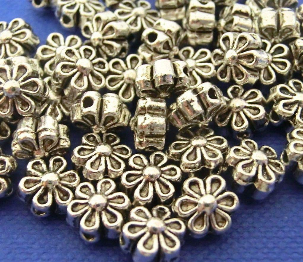 100 SPACER Zwischenperlen Farbe antiksilber 8mm Blume Metall Perle #S445