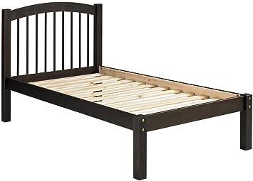 100 solid wood alaska twin platform bed by palace imports java color 445 - Twin Platform Bed Frame