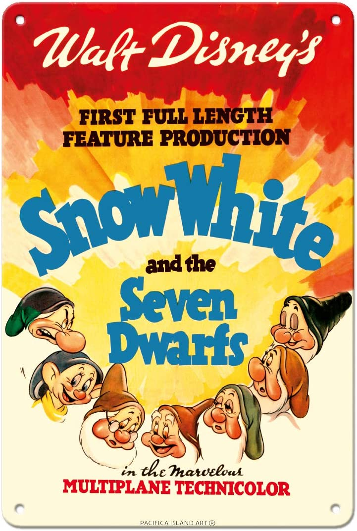 Pacifica Island Art Walt Disney's Snow White and The Seven Dwarfs - First Full Length Feature Production - Vintage Film Movie Poster c.1937-8in x 12in Vintage Metal Tin Sign