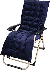 CAMPMAX Patio Chaise Lounge Chair Cushion, Indoor Outdoor Rocking Chair Cushions, Thick Pad for High Back Lounger Chiar with Pearl Cotton Filling, Blue