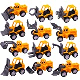 3 otters Pull Back Mini Engineering Car Toys, 12PCS Construction Trucks Toys Mini Construction Toys Model Mini Construction Vehicles Pull Back Toy Car Boy Girl Gift Birthday Party Favors