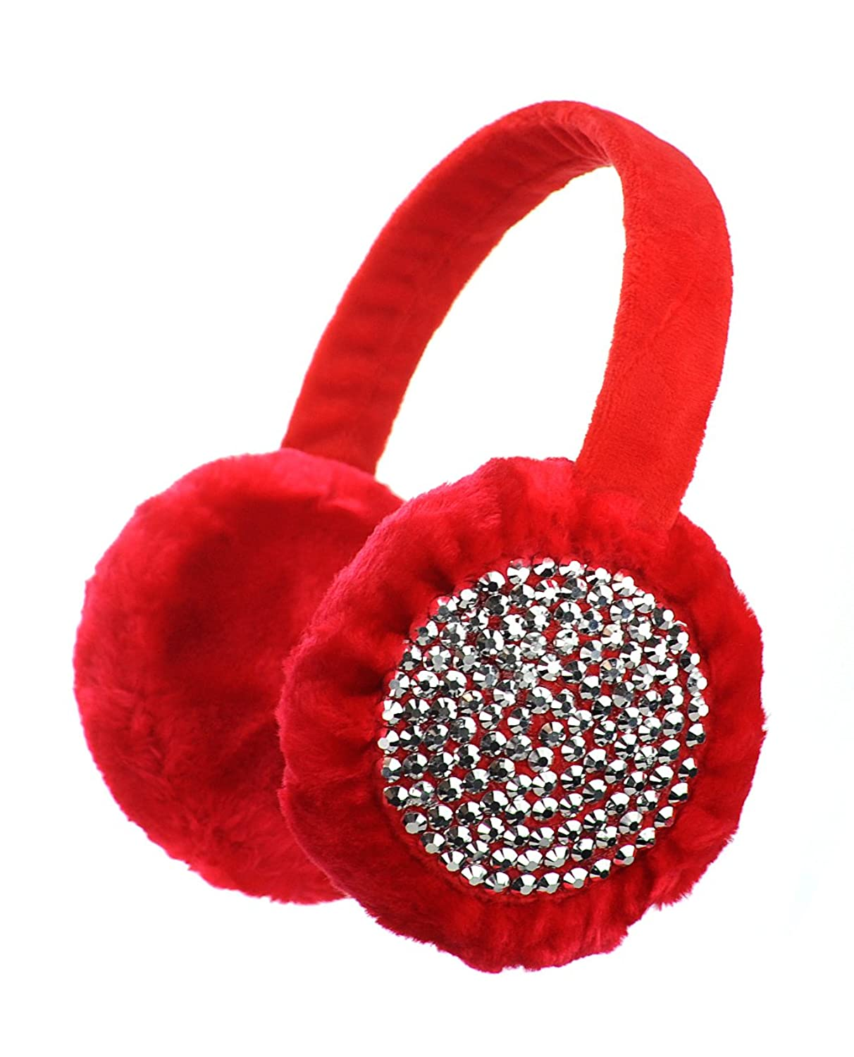 Solid Color Soft Faux Fur Warm Earmuffs w/ Rhinestone Studded Accents - Red
