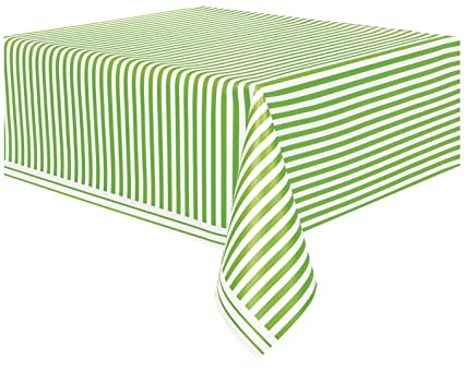 Lime Green Striped Plastic Tablecloth, 108u0026quot; ...