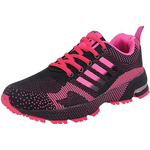 6b8ac23a7c019 wealsex Chaussures de Course Femme Running Compétition Sport Trail  Entraînement Basket Tennis Sneakers Fitness(Rouge