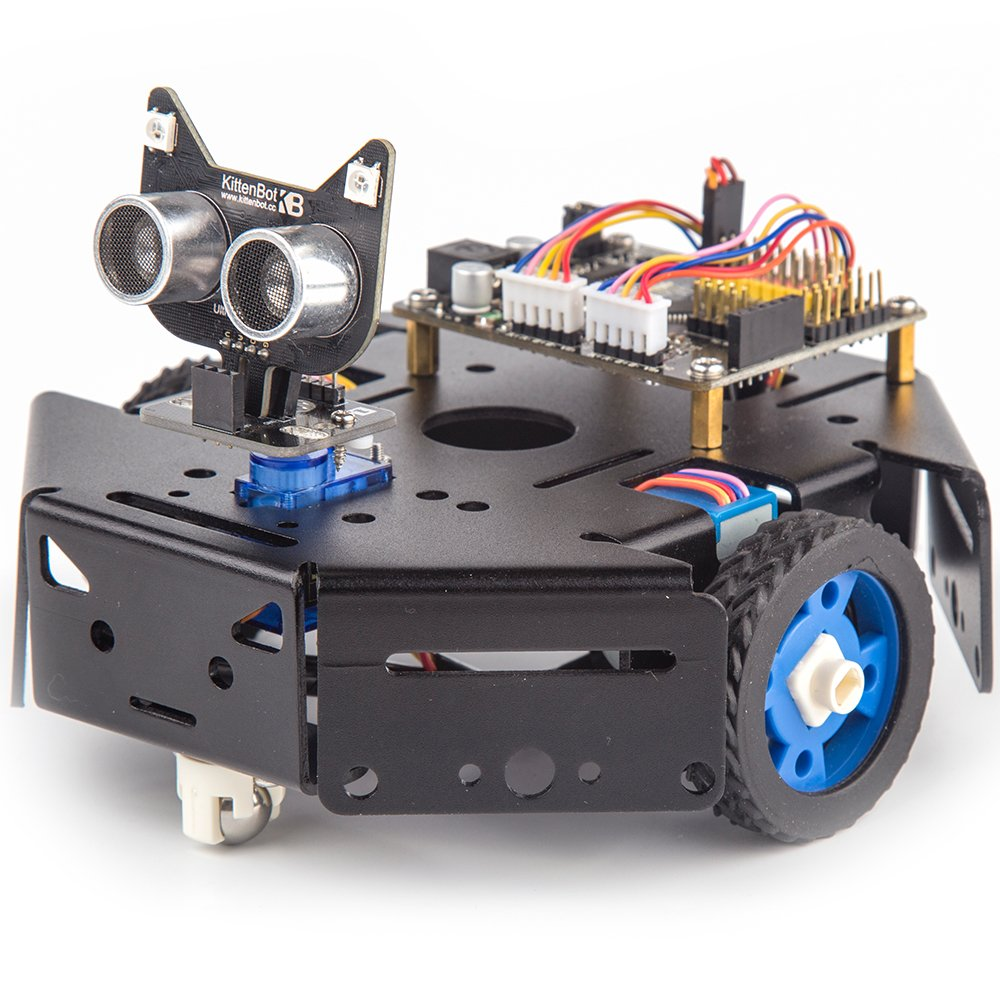 KittenBot Basic Robot Kit - STEM Education - Arduino - Scratch 3.0 - Compatible with Raspberry Pi - Support Python Program - Programmable Robot Kit to Learn Coding, Robotics and Electronics (Black) by KittenBot