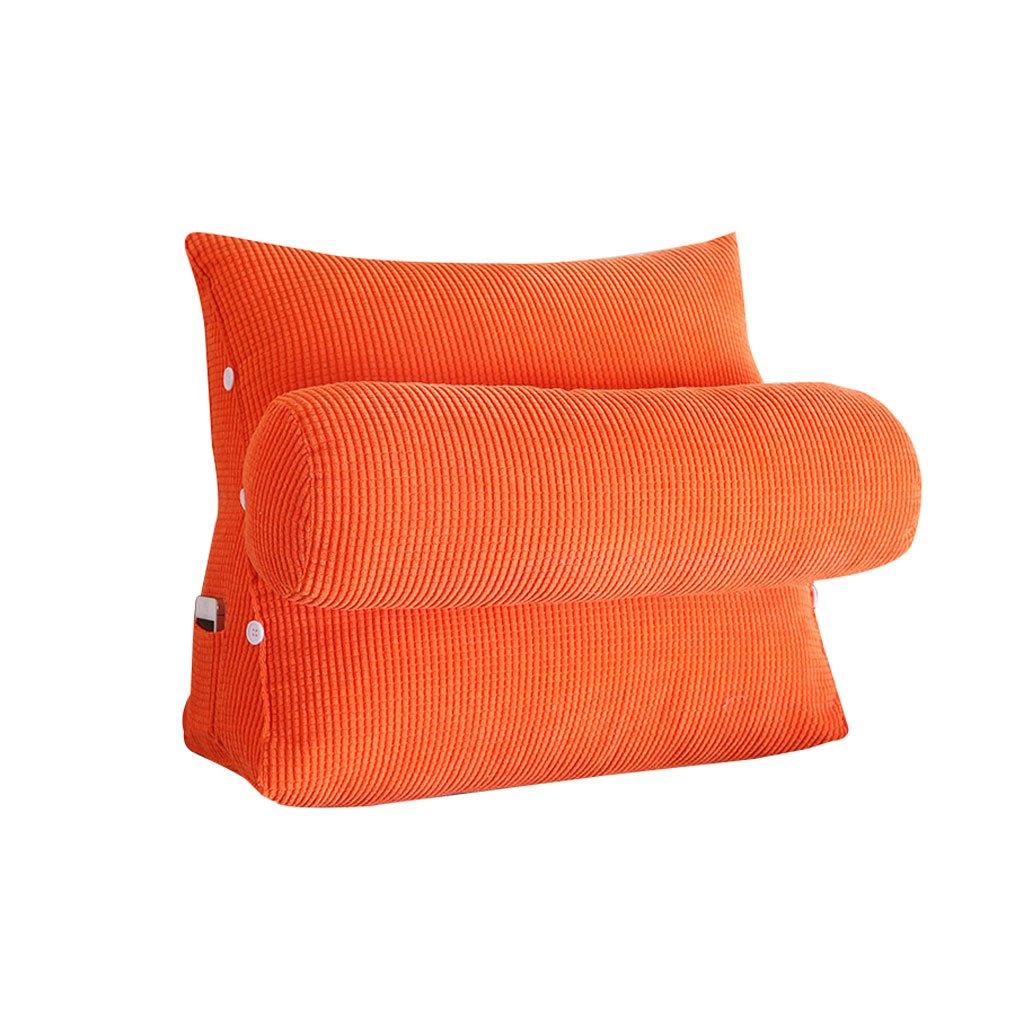 Triangle Bedside Pillow Sofa Bed Headrest With Headrest Lumbar Pillow Backrest Waist Pads Office Pillow Bay Window Cushion Back Orange (Size : 45cm22cm40cm)