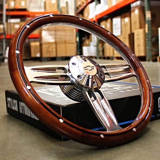 "1948-1959 Chevy pickup steering wheel BOWTIE 14/"" DARK MAHOGANY WOOD"