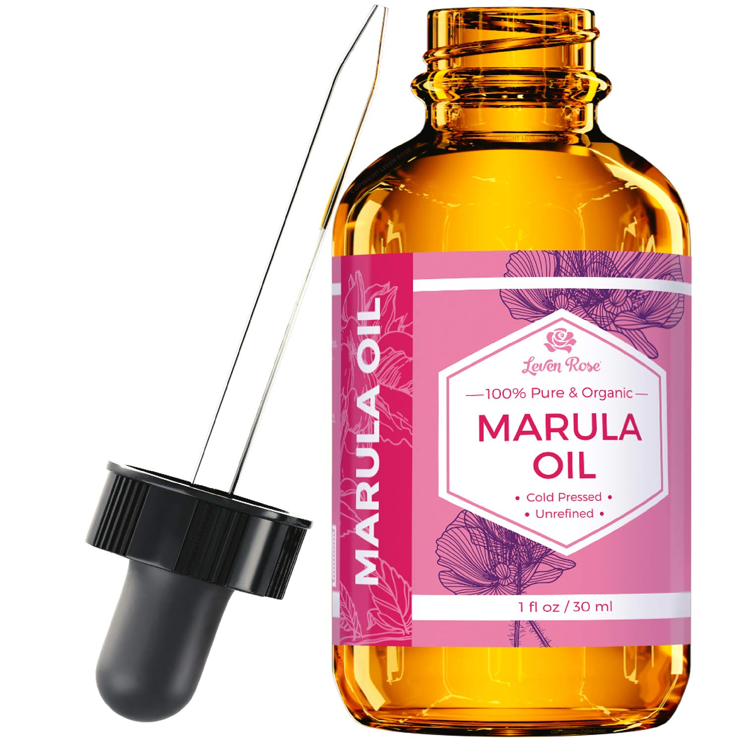 Marula Oil by Leven Rose Pure Organic, Extra Virgin, Cold Pressed, All Natural Face, Dry Skin and Body Moisturizer and Damaged Hair Treatment 1 oz