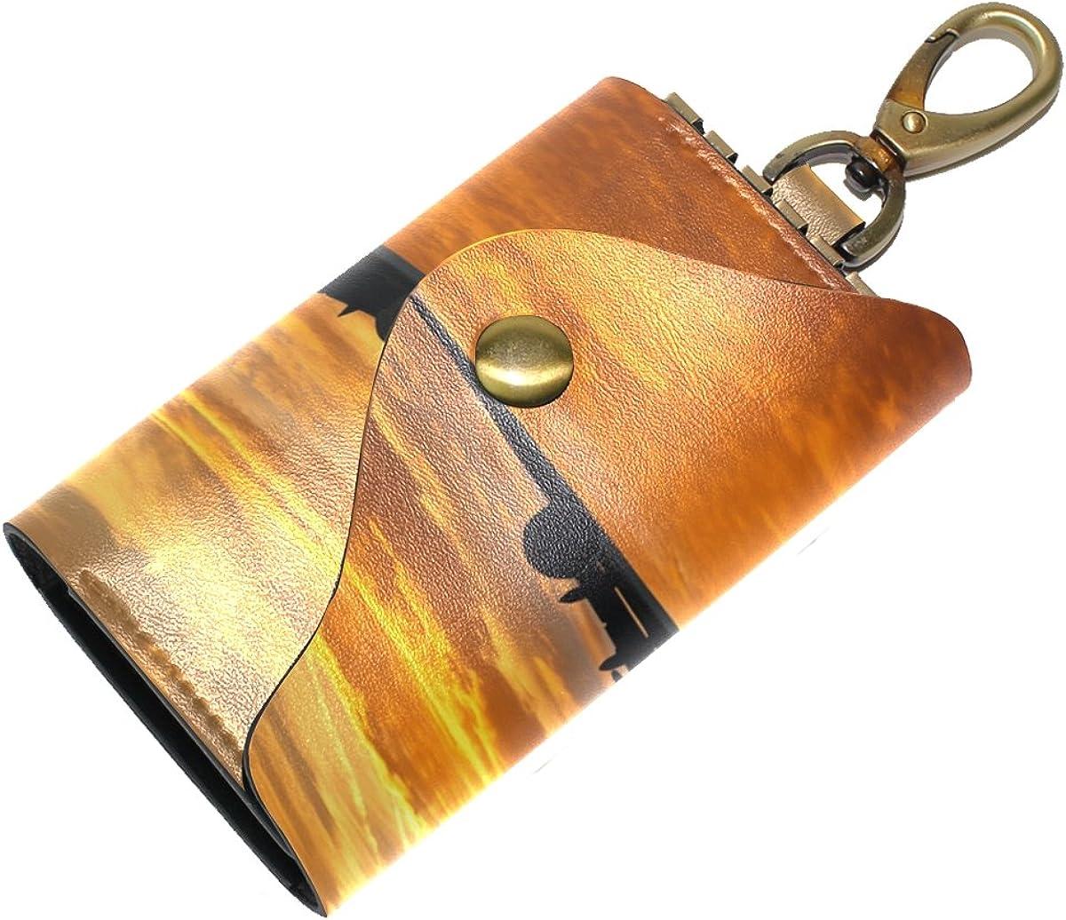 DEYYA Passenger Jet Plane Flying Leather Key Case Wallets Unisex Keychain Key Holder with 6 Hooks Snap Closure