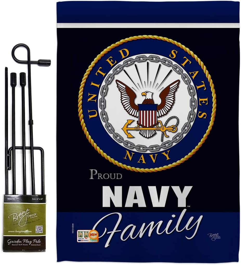 Breeze Decor Navy Proudly Family Garden Flag - Set with Stand Armed Forces USN Seabee United State American Military Veteran Retire Official - House Banner Small Yard Gift Double-Sided Made in USA
