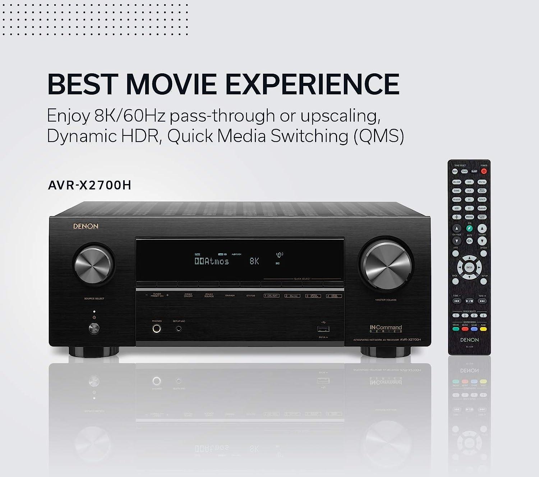 Amazon Com Denon Avr X2700h 8k Ultra Hd 7 2 Channel 95 Watt X 7 Av Receiver 2020 Model Built For Gaming Music Streaming 3d Audio Video Alexa Heos Electronics